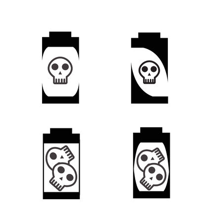 silhouette battery with skull icon Vector