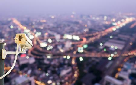 CCTV Camera with night city scape  photo