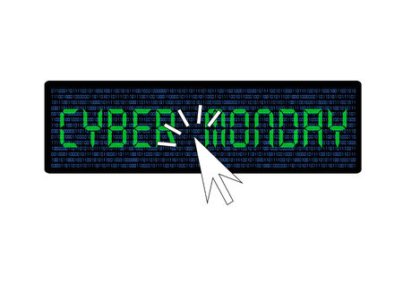 cyber monday banner with clicking mouse