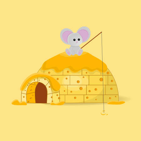 Mouse on a cheese igloo house
