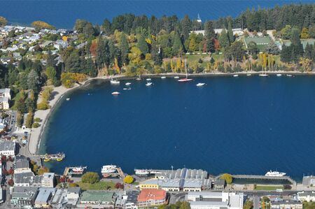 wakatipu: Lake Wakatipu close up from top view Queenstown New Zealand