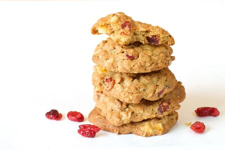 oatmeal cookie: Cranberry oatmeal cookie on white background