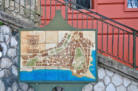 building wall: Local map of Nice city by the street, France Riviera, France