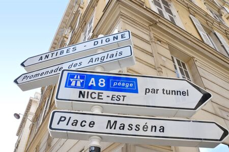 Directional sign to tourist attractions and tunnel, Nice, France