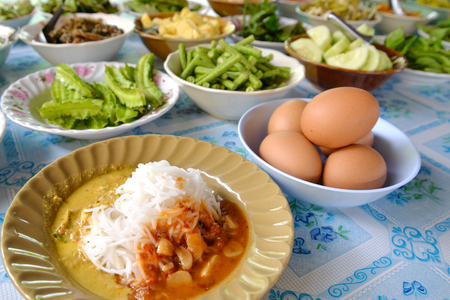 phuket food: Thai Southern style rice noodle with curry come along  with many kind of vegetables, Phang Nga, Thailand
