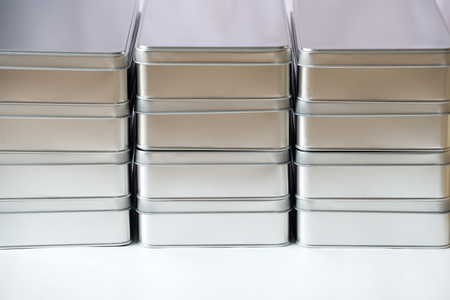 tin: Stack of many tin boxes