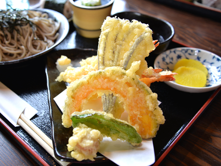 Vegetable Tempura with soba, Hokkaido, Japan