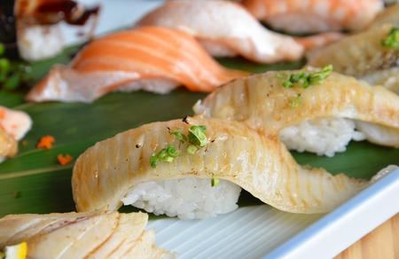 sushi: Fish fin sushi Engawa sushi in Sushi Set. Japanese food.
