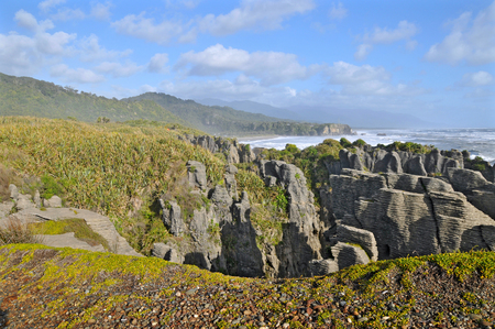 south island new zealand: Pancake Rocks, Punakaiki, South Island, New Zealand.