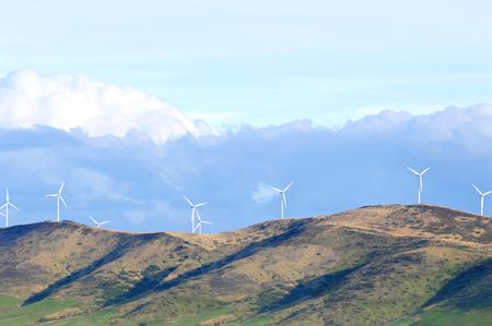 wind turbines: Wind turbine farm on the hill, South Island, New Zealand