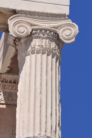 acropolis: Close up of Ionic column at Acropolis, Athens, Greece Stock Photo