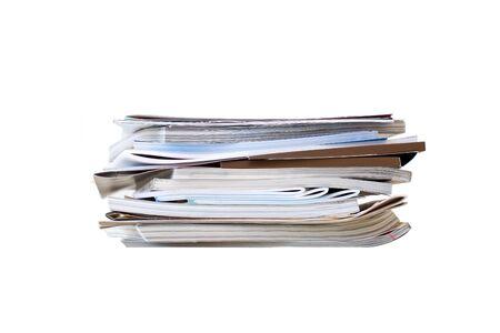 magazine stack: Stack of magazine on white background