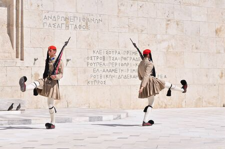 syntagma: Changing of the Guards event occur in front of House of Parliament, Syntagma square, Athens, Greece.