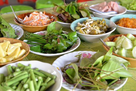 phuket food: Thai southern style vegetables normally having with rice noodle and curry, Phang Nga, Thailand Stock Photo