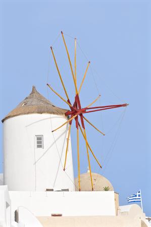 traditional windmill: Traditional windmill at Oia, Santorini, Greece