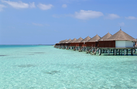architecture bungalow: Beautiful overwater bungalows in a sunny day, Maldives