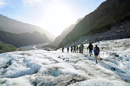 Tourists are trekking at Fox Glacier, New Zealand. Publikacyjne