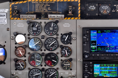 gauges: Seaplane control panel with many gauges Stock Photo