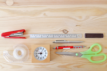 home office: Home office with office supply on table - top view Stock Photo