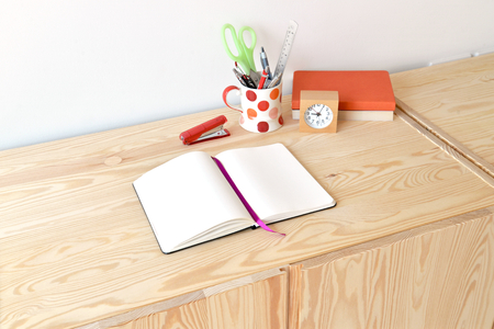 home office: Home office with office supply on table