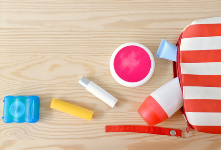 Colorful toiletries on the cupboard Stockfoto