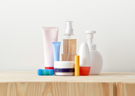 toiletries: Colorful toiletries on the cupboard Stock Photo