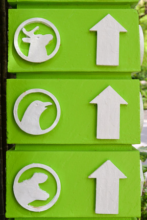 sign post: Directional zoo sign on a green post Stock Photo