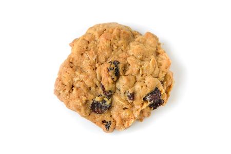 흰색 배경에 오트밀 건포도 쿠키 - 절연 스톡 콘텐츠