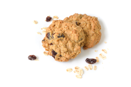 Oatmeal raisin cookies on white background - isolated