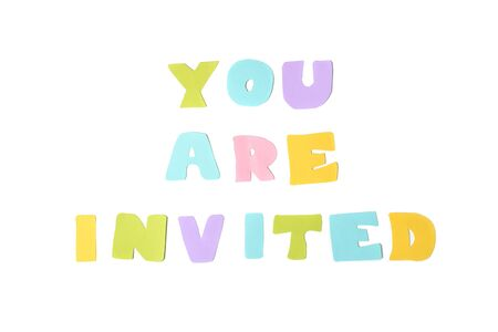 You are invited text on white background - isolated