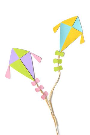 flying kites: Flying kites on white background - isolated