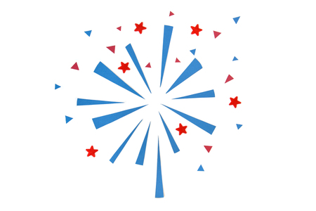Firework paper cut on white background - isolated Banque d'images