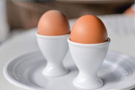 lose up: Boiled eggs in egg cup on a white plate