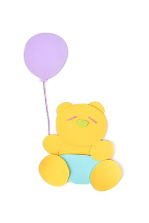 Teddy bear with balloon paper cut on white background - isolated