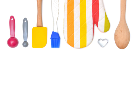 Baking utensil from top view on white background - isolated
