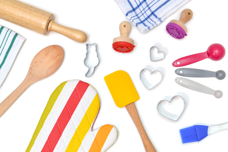 Baking utensils from top view on white background - isolated Stock Photo