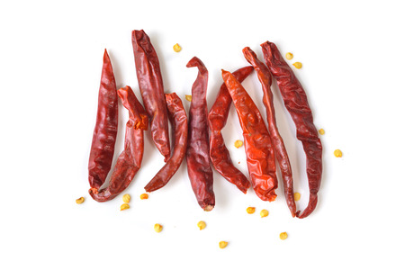 Dried Thai red chili pepper on white background - isolated