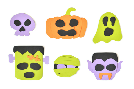 Halloween cartoon faces on white background - isolated
