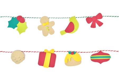 christmas pudding: Christmas bunting paper cut on white background - isolated