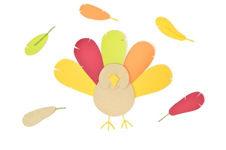 cute: Thanksgiving turkey paper cut on white background - isolated