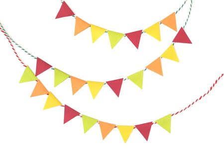 Thanksgiving bunting paper cut on white background - isolated 版權商用圖片