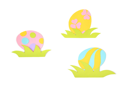 Easter eggs paper cut on white background - isolated Stock Photo