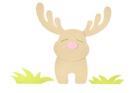 Deer paper cut on white background - isolated Stock Photo