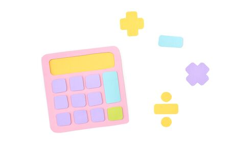 Calculator paper cut on white background - isolated