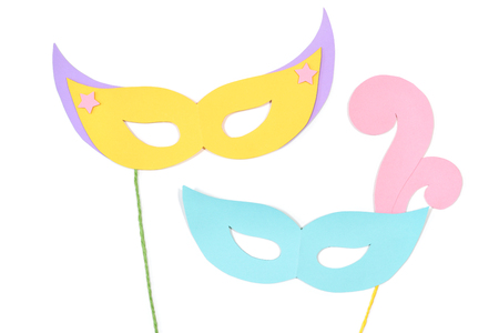 Carnival masks paper cut on white background - isolated