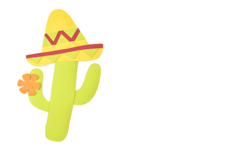 Cactus and sombrero paper cut on white background - isolated