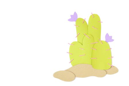 Cactus paper cut on white background - isolated Banque d'images