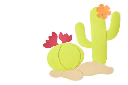 Cacti paper cut on white background - isolated