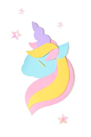 Unicorn paper cut on white background - isolated Banque d'images
