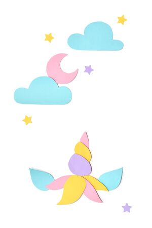 Unicorn and sky paper cut on white background - isolated